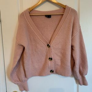 TOPSHOP pink cropped button cardigan